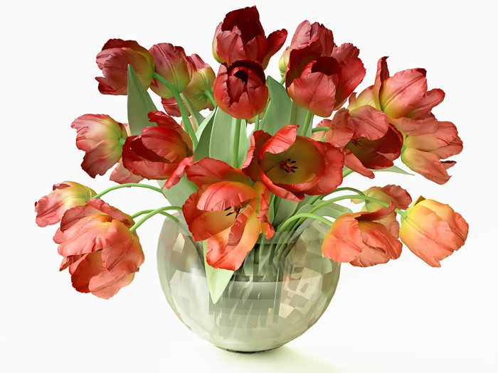 3d Bouquet of Red Tulips in Cristal Vase Wall Mural • Pixers® • We ...