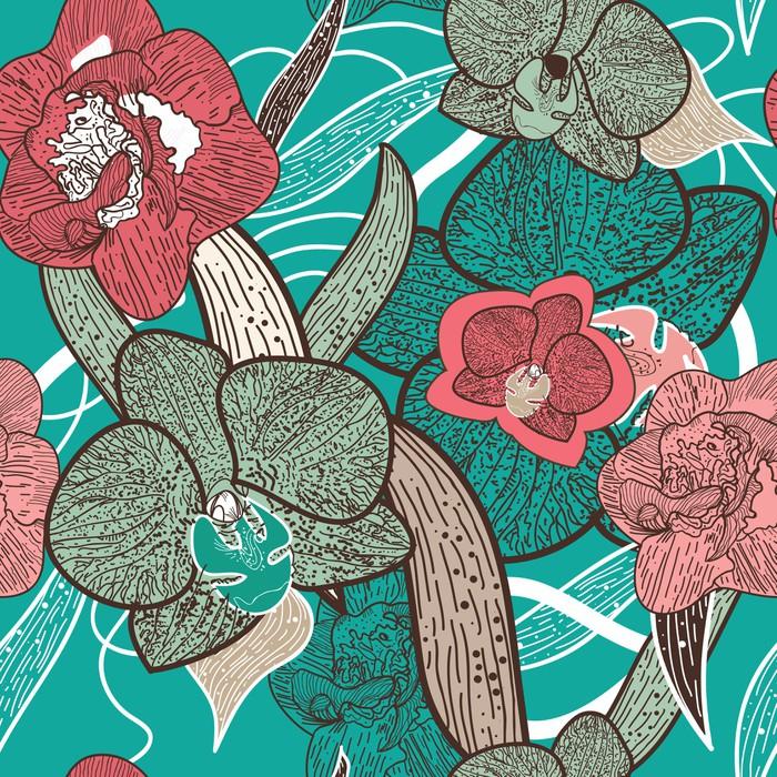 Vinylová Tapeta Bezešvé květinové textury - Témata