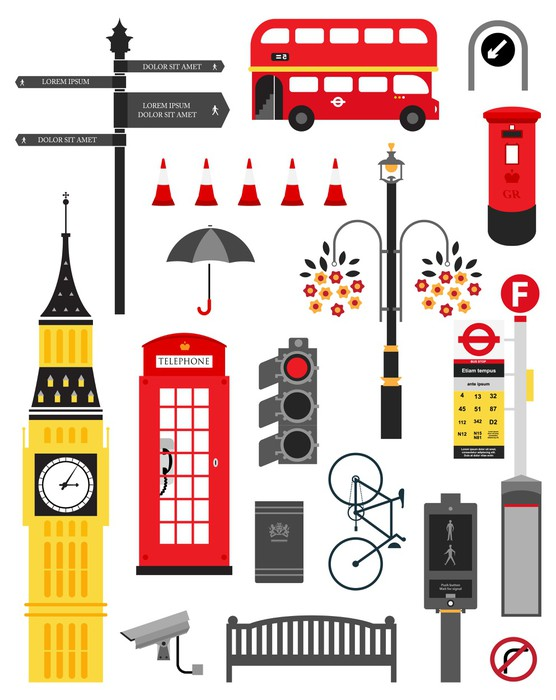 London City Street Icon Set Wall Mural Pixers 174 We Live