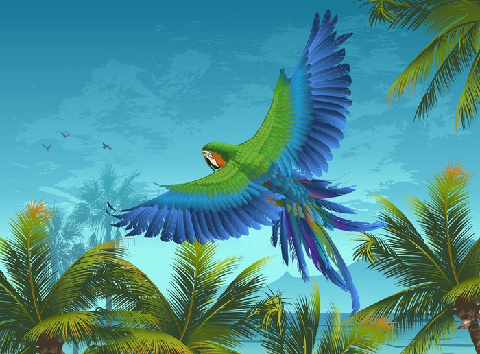 Amazon tropical background with parrots and palm trees for Amazon mural wallpaper
