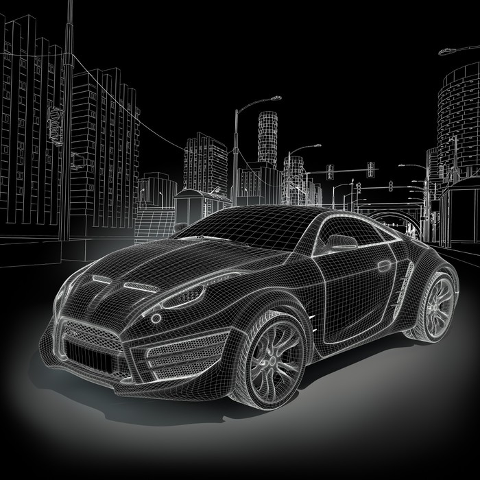 Sports car blueprint original car design wall mural pixers sports car blueprint original car design wall mural vinyl malvernweather Choice Image