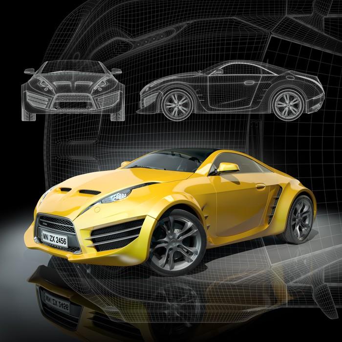 Fototapete Gelbe Sportwagen auf einem schwarzen Hintergrund. Non ...