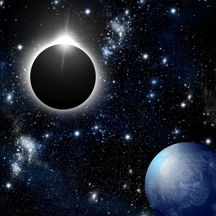 Eclipse and planet in deep space pixerstick sticker outer space