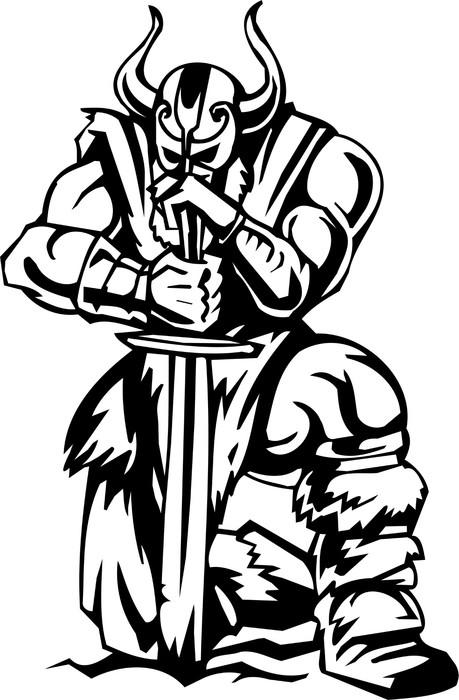 nordic viking black white vector illustration vinyl