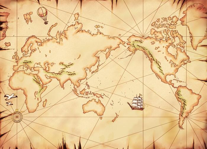 Papier Peint Vinyle Ancienne Kei World Atlas - Thèmes