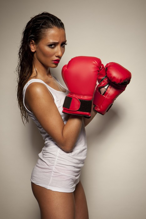 Sexy woman with red boxing gloves pixerstick sticker themes