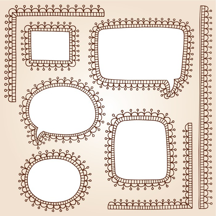 henna doodle speech bubble frames vector design elements wall mural