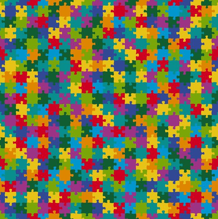 puzzle muster hintergrund bunt endlos vinyl wall mural education - Puzzle Muster