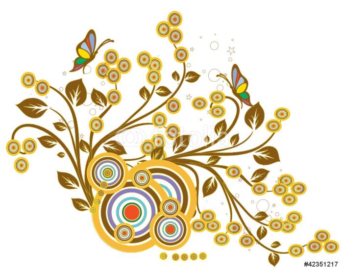 Sticker Pixerstick Cercle floral automne - Sticker mural