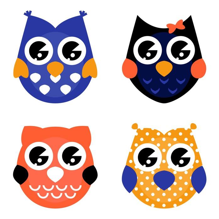Sticker Pixerstick Cute Halloween owls collection isolé sur blanc - Hiboux