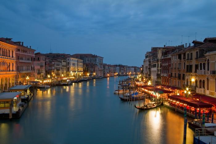 Vinylová Tapeta Noční obraz Canal Grande v Benátkách. - Evropská města