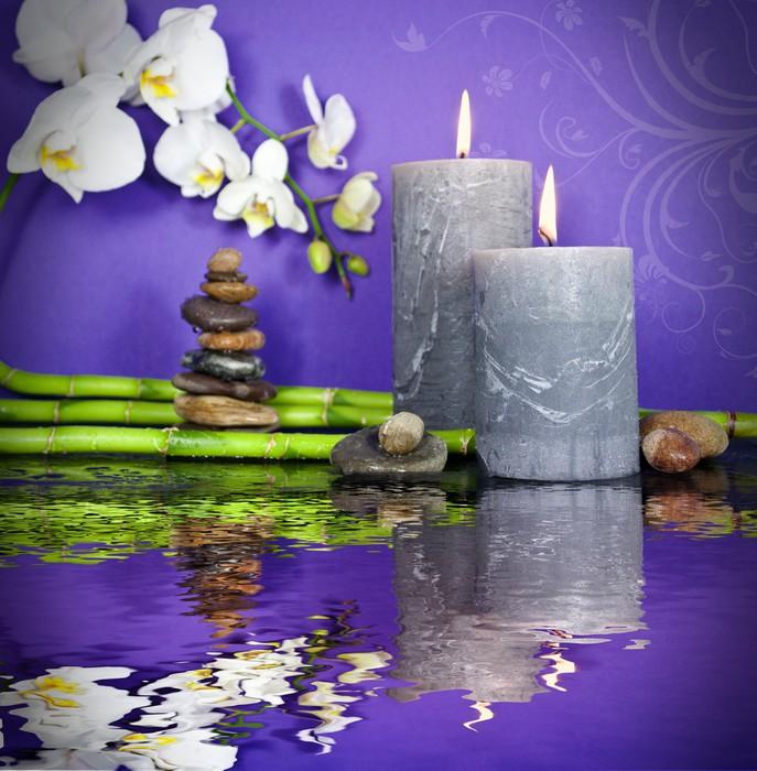 Orchidee Weiss Mit Bambus Und Kerzen Und Steinen Wall Mural Pixers