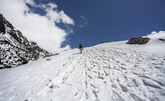 Vinylová Tapeta Nepál: Bergsteiger am Laurebina Pass Langtang - Témata