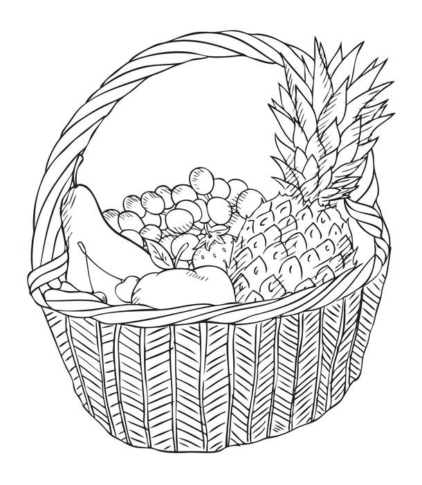 Vinilo Pixerstick Canasta Con Frutas Vector Diferente