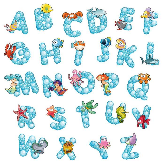 Vinilo Pixerstick Alfabeto con burbujas. Vector aislado letras ...