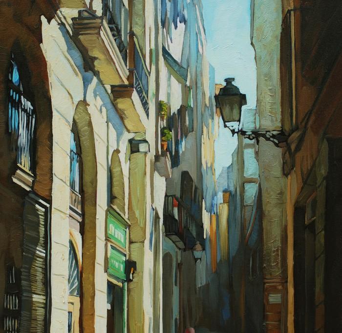 Vinylová Tapeta Gotická čtvrť v Barceloně, malování olejem na plátně, illust - Témata