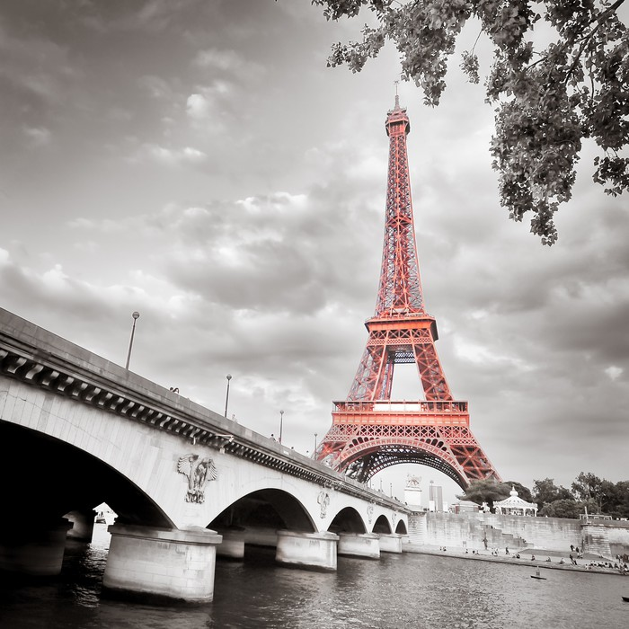 Eiffel tower monochrome selective colorization wall mural for Eiffel tower wall mural black and white