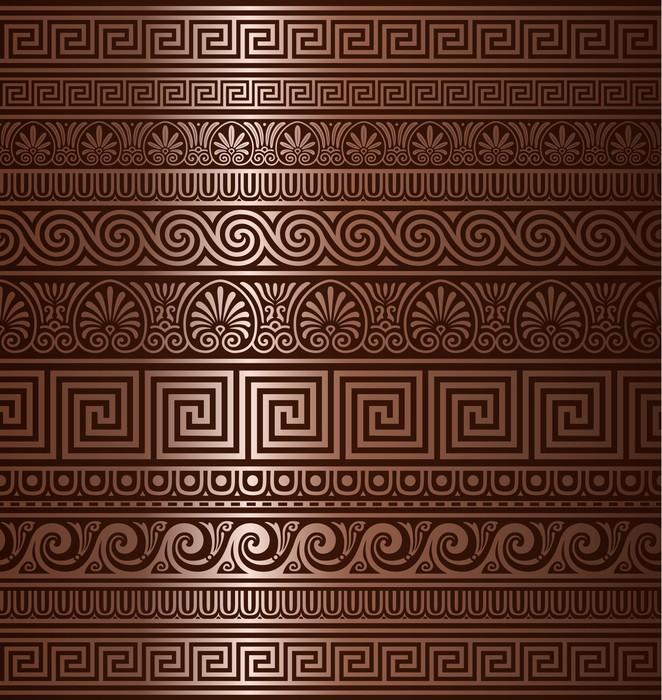 Vinylová Tapeta Bezešvé měděné řecké ozdoby - Pozadí