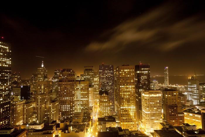 Vinylová Tapeta Antény San Francisco v noci - Americká města