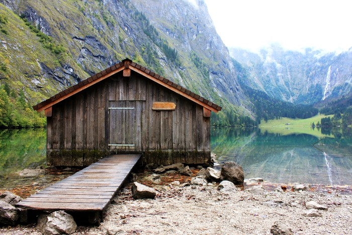 Log cabin in obersee koenigssee berchtesgaden wall mural for European log cabins