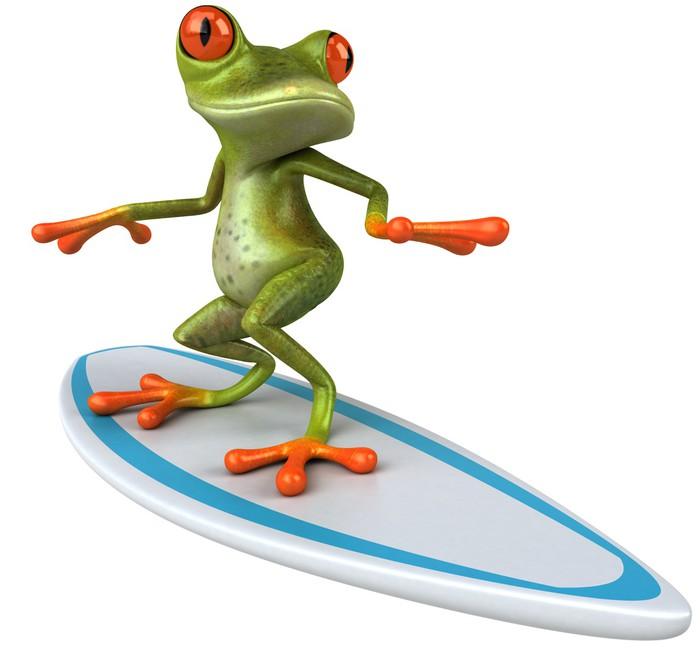 Nálepka Pixerstick Frog surfing - Značky a symboly