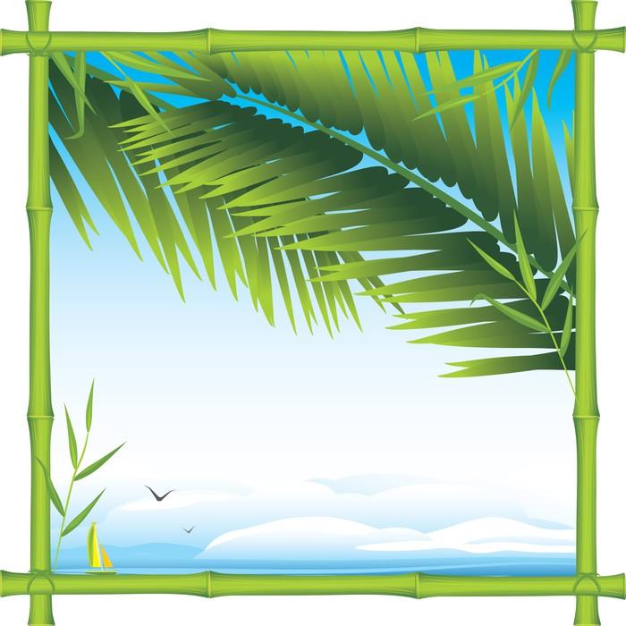 Fototapete Bambus-Rahmen mit Palmzweigen und Landschaft • Pixers ...
