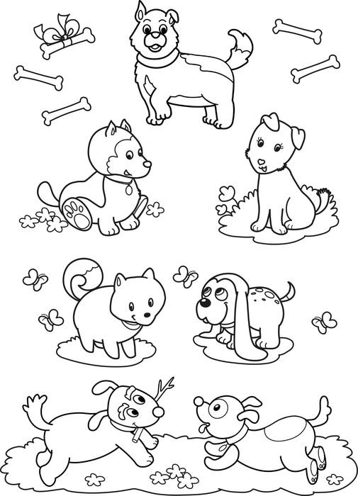 Fototapete Sieben Hunde niedlich Malvorlagen für Kinder • Pixers ...