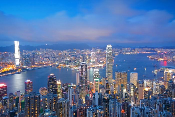 Vinylová Tapeta Hong Kong panorama od Victoria Peak při východu slunce - Criteo