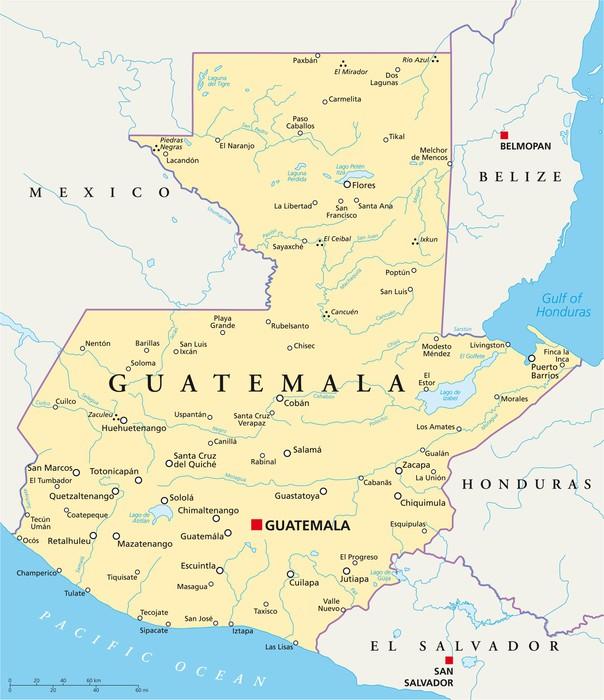 Karta Guatemala Karta