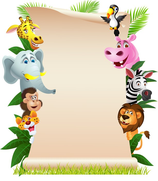Animal cartoon with blank paper Vinyl Wallpaper - Mammals