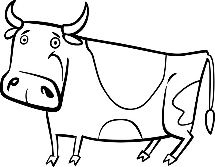 Papier Peint Vinyle Illustration de bande dessinée de vache ferme pour la coloration - Mammifères