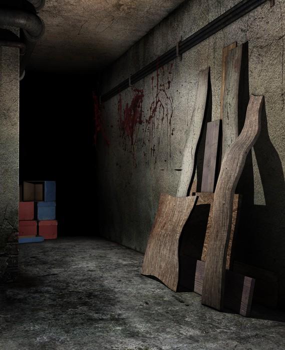 Nálepka Pixerstick Starý vinný sklep s deskami a kartony - Čas