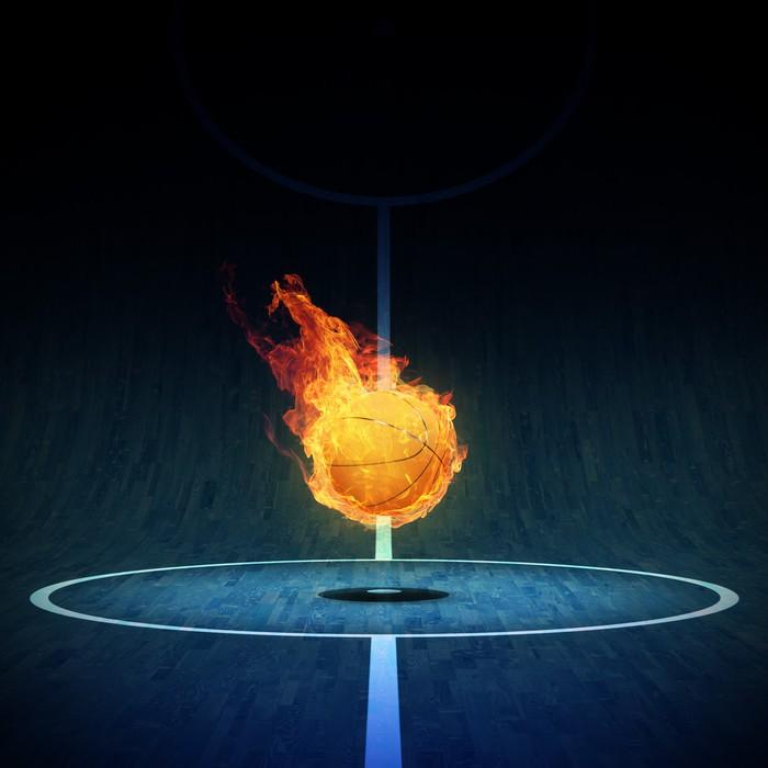 Nálepka Pixerstick Basketbal na ohni v poli 3D - Sportovní potřeby