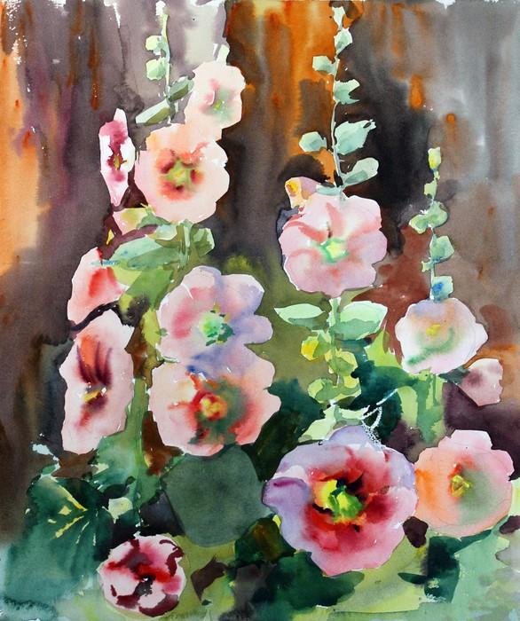 Vinylová Tapeta Akvarel krásné květy slézu. - Umění a tvorba