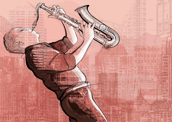 saxophone player in a street Wall Mural - Vinyl - Jazz