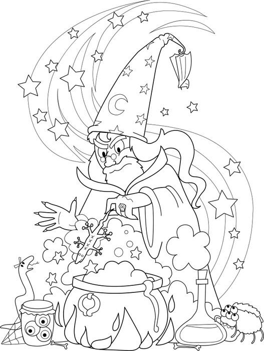 Aufkleber Zauberer, der einen Trank bereiten in einem Kessel, Vektor ...