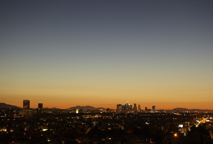 Sunrise with heat haze of downtown los angeles skyline wall mural sunrise with heat haze of downtown los angeles skyline vinyl wall mural themes sciox Gallery