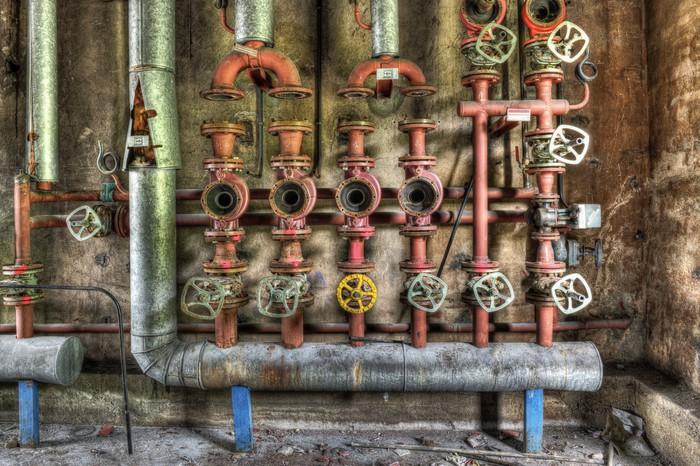 Industrial boiler room in a derelict factory Wall Mural • Pixers ...