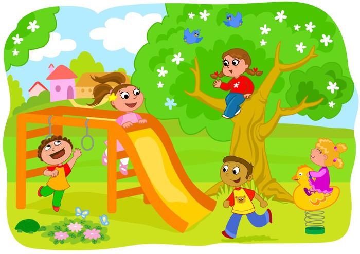 Kid N Play Cartoon Characters : Vinilo pixerstick niños jugando en el patio de recreo