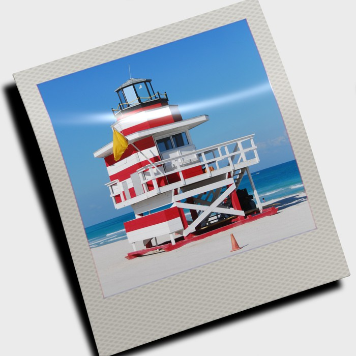 lifeguard cabin in polaroid slide wall mural pixers we live to