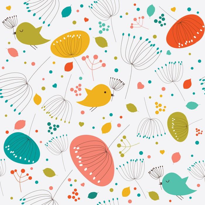 Vinylová fototapeta Bezešvé květinový vzor, textura s květinami a ptáky - Vinylová fototapeta