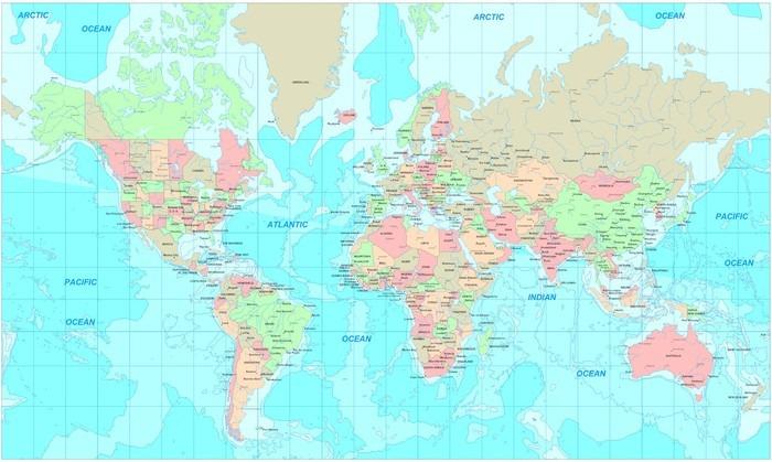 Tableau sur Toile Political map world - Thèmes