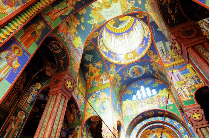 Interior of orthodox church dedicated in ljubljana for Church wall mural