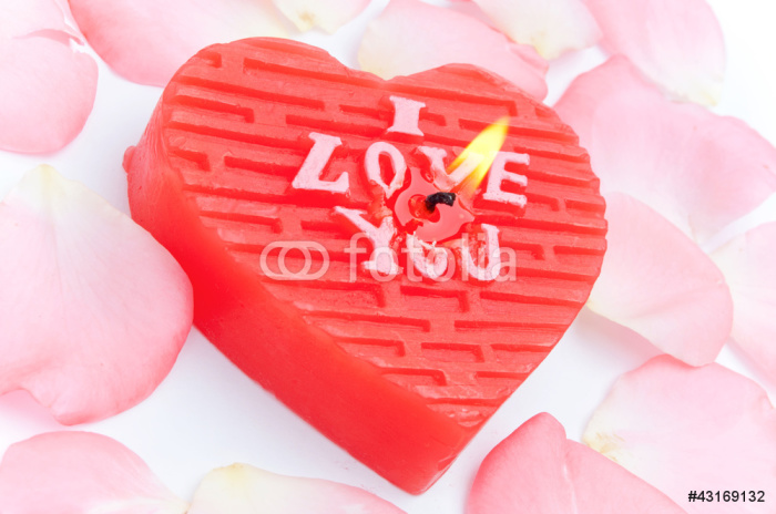 Nálepka Pixerstick Ve tvaru srdce svíčku a plátky růží - Značky a symboly
