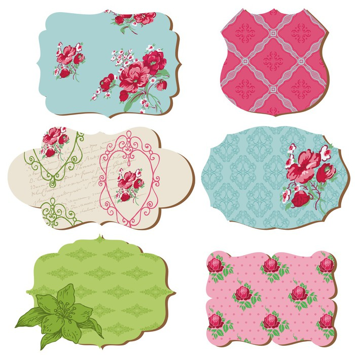 Scrapbook Design Elements Vintage Tags With Flowers In Vecto