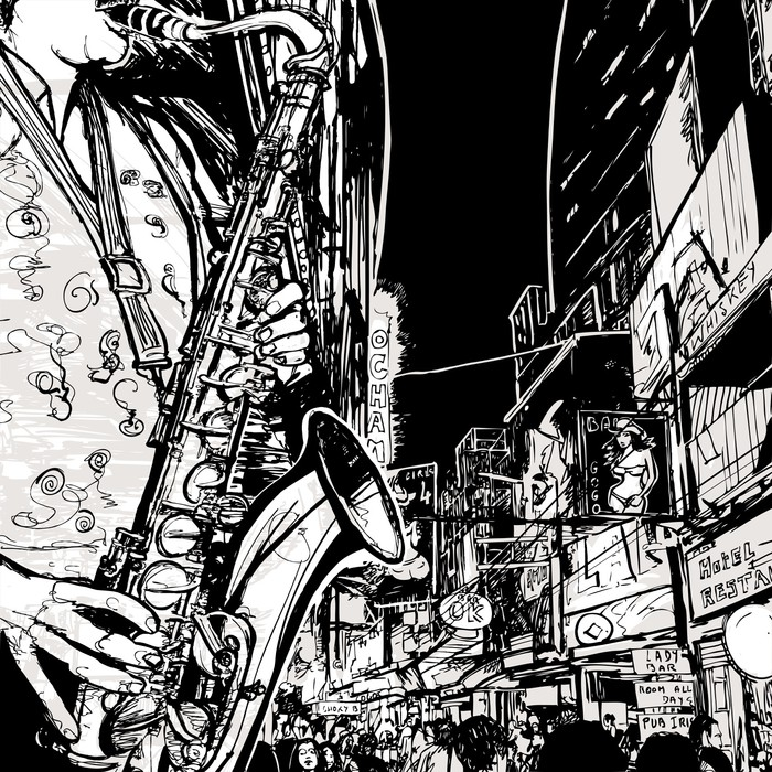 saxophonist playing saxophone in a street Wall Mural - Vinyl - Jazz