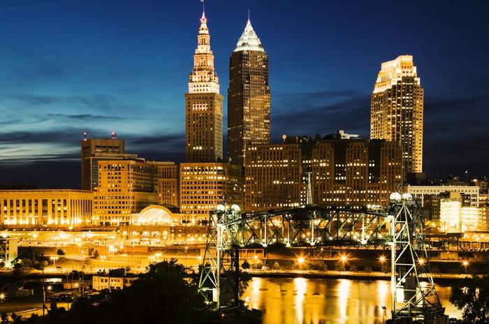 Vinylová Tapeta Cleveland v modré večerní - Město