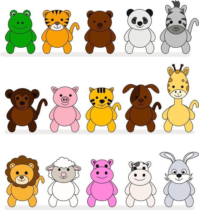 Carta da parati una collezione di cartoni animati animali