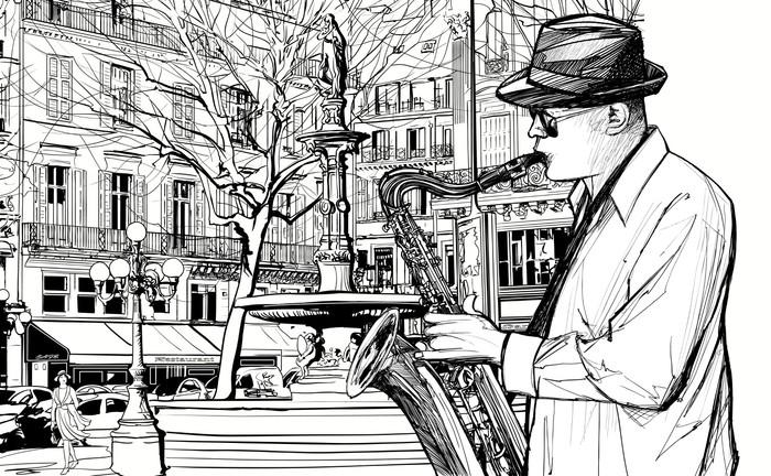 saxophone player in a street of Paris Wall Mural - Vinyl - Jazz