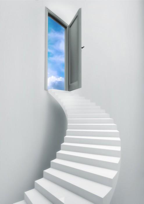 Ladder Stairs Heaven Door Freedom Blue Sky Vinyl Wall Mural - Themes & Ladder Stairs Heaven Door Freedom Blue Sky Wall Mural \u2022 Pixers® \u2022 We ...